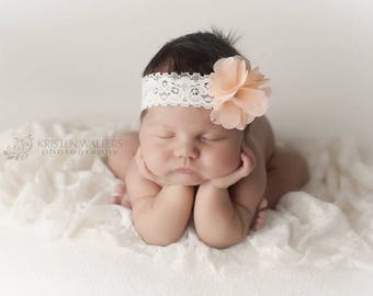 Ivory Lace Headband with Chiffon Flower with a choice of your color! Lace Baby Headband, New Born Headband, Flower Headband, Photo Prop