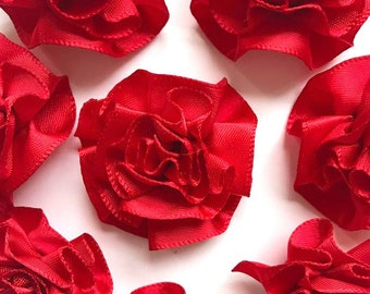 4 Large Red Ribbon Ruffle Roses Rosettes Flowers 3.5cm  - Card Making Embellishments Craft Sewing
