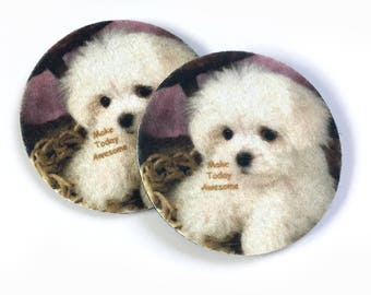 Make Today Awesome - Adorable puppy car coasters - Makes a great gift  - Free Shipping - Awesome cup holder coasters - Car coasters