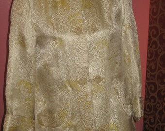 "1950's, 36"" bust, ecru and gold brocade Chinese inspired coat"