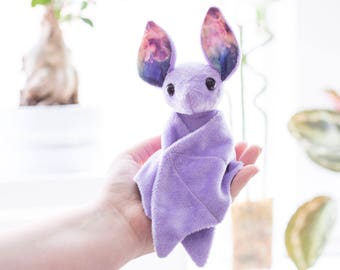 Purple Galaxy Bat Stuffed Animal Plush Toy, Bat Plushie, Softie