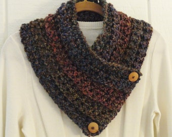 Crochet Button Cowl Scarf Brown Blue Green Red Wood Buttons Neckwarmer Scarflette
