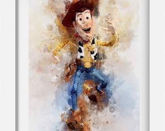 Toy Story Woody Sheriff Watercolour A4 Poster Art