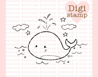 Whale Fun Digital Stamp for Card Making and Crafts
