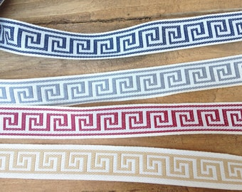 Red Greek Key Border Trim/Blue Greek Key Trim/Gray Greek Key Trim/ 22 MM wide Cotton Blend Trim/Napkin trim/Home Decor Greek Key Trim