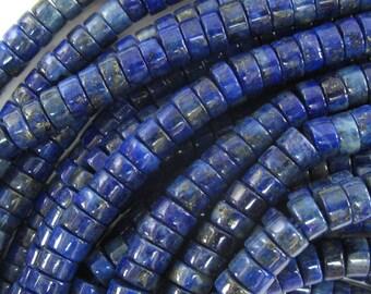 "5mm - 6mm blue lapis lazuli heishi beads 15.5"" strand 34493"