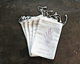 Personalized wedding favor bags, set of 50, cotton favor bags, lavender favor bags, names and wedding date, bridal shower, party favor bags