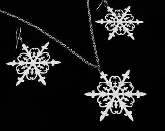 Sterling Silver Snowflake Earrings and Necklace - Christmas Gift Set - FALLING SNOW