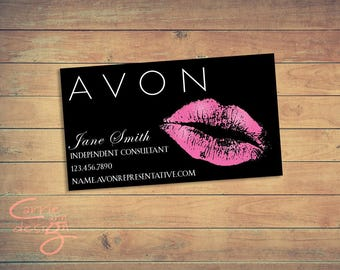 AVON business card printable, download, lips, kiss