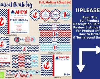 Nautical Birthday Printables - Sailing Birthday - Printable Party Set - Nautical Party Kit - DIY Boat Birthday Printables