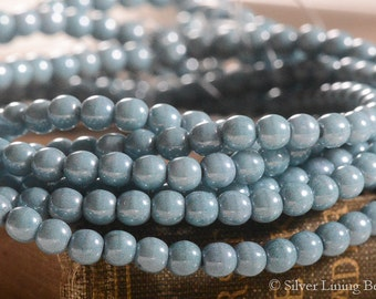 Faded Denim Dots (50) - Czech Glass Bead - 4mm - Druk