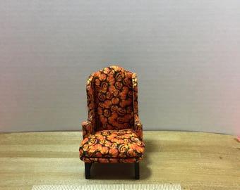 Dollhouse furniture handmade pumpkin wing back chair
