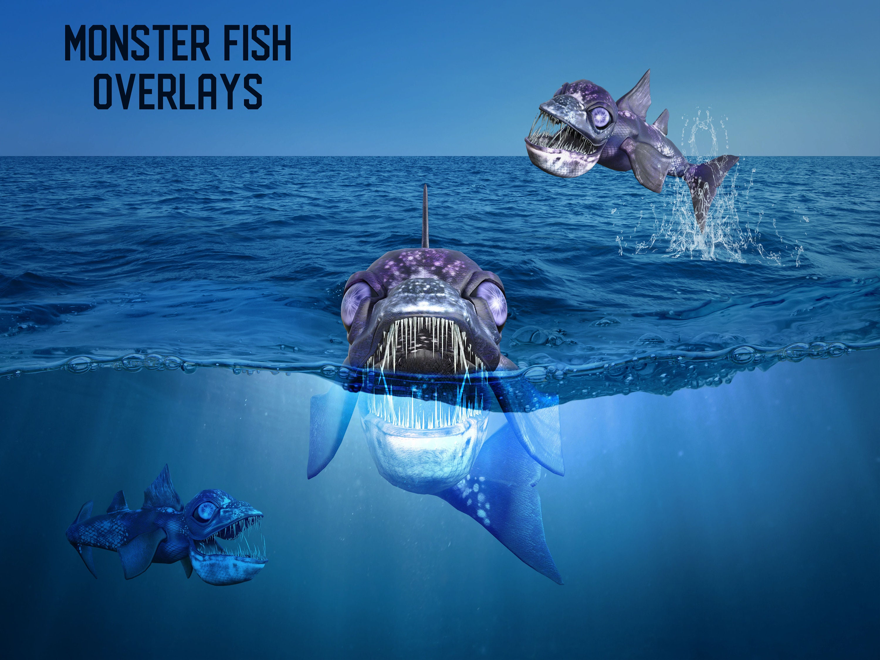 5 Monster Fish Overlays Separate PNG Files High Resolution