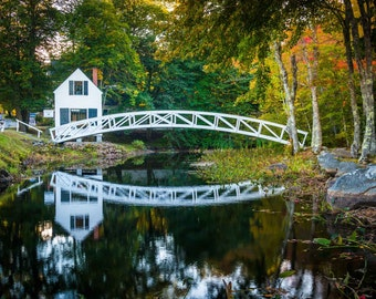 Bridge over a pond and the Selectmen's Building in Somesville, Maine. Photo Print, Metal, Canvas, Framed.