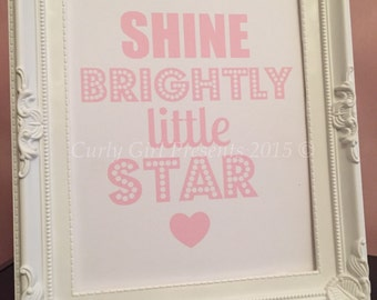 Shine Brightly Nursery Wall Hanging Baby Shower Gift New Baby Present Baptism Token
