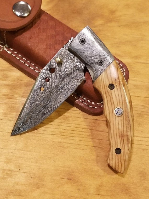 Handmade Wood Handle Folding Pocket Knife Damascus Blade Collection With Leather Sheath Premium (K24)