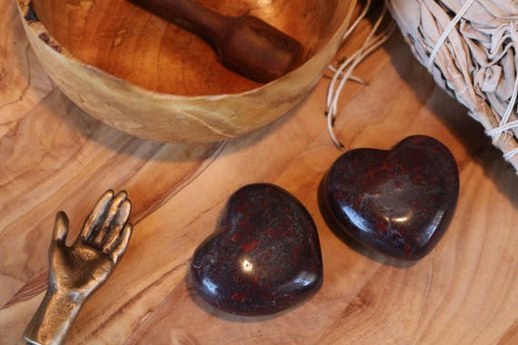 Brecciated Jasper Heart, Black and Red Jasper Heart, Polished Jasper Heart, Carved Jasper, Heart Shaped Jasper, Pocket Crystal, Taliman