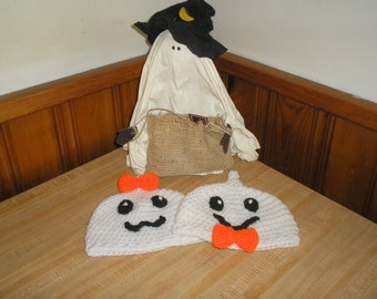 SALE: PDF Pattern- Halloween Ghostly Duo Boy/Girl Hat - PDF Crochet Pattern -Newborn to Adult Sizes Included Ghost family  Ghost Hat