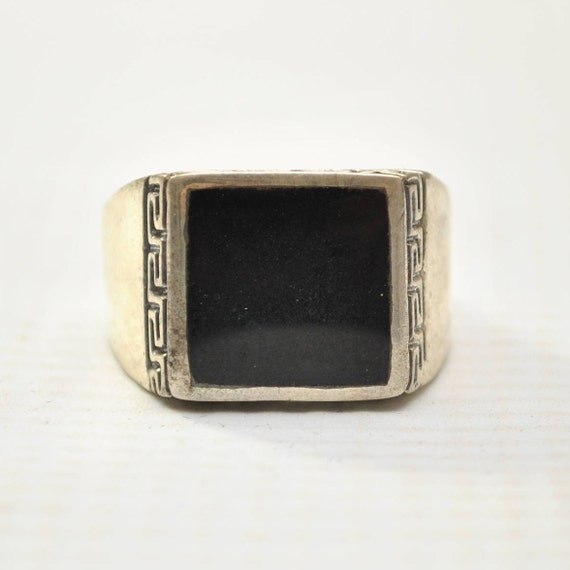 Onyx Square Stone in Greek Key Sterling Silver Ring Sz 10 #8758