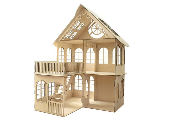 beautiful house with a loft doll house dollhouse wood. Black Bedroom Furniture Sets. Home Design Ideas