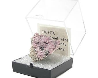 Inesite Pink Rare Crystals on Rock Matrix Thumbnail Mineral Specimen mined in California from an estate collection in a museum display box