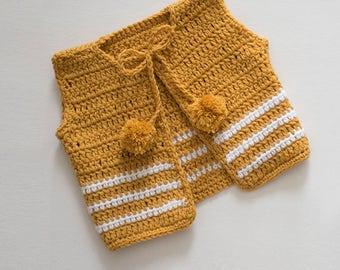 CROCHET PATTERN - Crochet Baby Sweater - Pom Pom Cardigan - Baby Cardigan - PDF