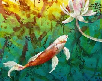 Koi Dreaming - Koi - Fish  - Pond - Japan - Japanese -  Swimming - Tranquil - Zen - Goldfish - Meditation - Lotus -  Michelle Gilks