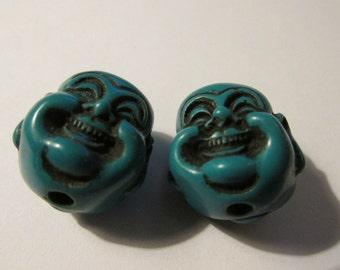 "Turquoise Blue Chinese Laughing Buddha Beads, 3/4"", Set of 2"