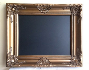 """MAGNETIC CHALKBOARD 17""""x20"""" Gold and Black Wedding Sign Bar Menu Vintage Wedding Sign Gold Framed Chalkboard Kitchen Decor Antique Gold"""