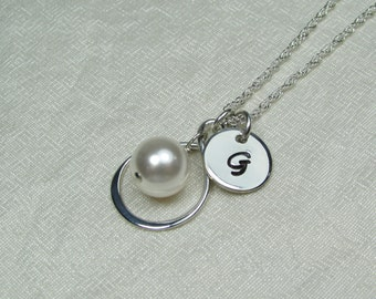 Initial Necklace Pearl Infinity Necklace Personalized Mothers Necklace Sterling Silver Monogram Necklace Birthstone Mothers Jewelry Gift