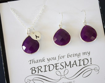 9 Initial Bridesmaid Necklace and Earring set Purple, Bridesmaid Gift, Plum Gemstone, Sterling Silver, Initial Jewelry, Personalized