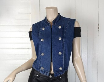90s Blue Denim Vest / Crop Top- Western Cabochons- 1990s Vintage Military Inspired- Small- Punk / Goth / Buffy / Spice Girls / 1990s