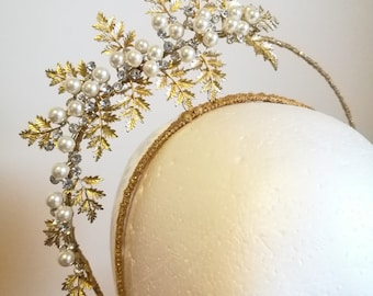 Gold leaves and Pearl Halo Fascinator