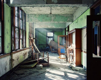 Detroit Art, 8x12 print, Architecture Photography, Urban Exploration, Urbex, Abandoned Building Photography, Green, Detroit Photography