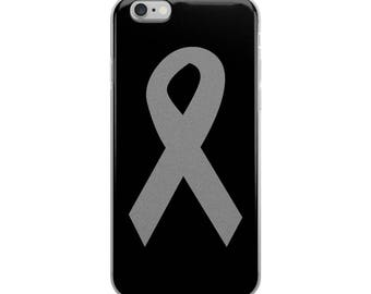 Gray Ribbon iPhone 6/6 Plus Case, Gray Awareness Ribbon, Awareness Ribbon Phone Case, Gray Ribbon iPhone Case