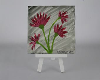Hand painted ceramic tile with burgundy flowers