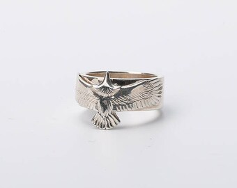 Silver Eagle Ring   Men Eagle Ring   Eagle Silver Ring   Silver Hawk Ring   Eagle Jewelry   Bird Ring   Animal Ring   Realistic Eagle Flying