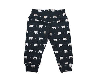 Navy and Silver Bear Leggings - Christmas Leggings - Boys Leggings - Christmas Pants - Baby Leggings - Polar Bear Leggings - Metallic
