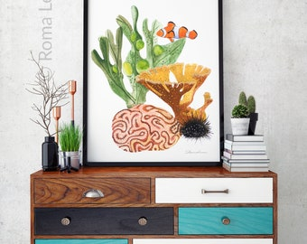 Nursery watercolor ocean Animals art baby coral wall art print poster watercolor painting illustration children room decor kids nursery art