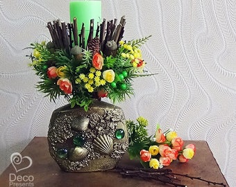 """Decorative candlestick made of artificial flowers """"Spring"""""""