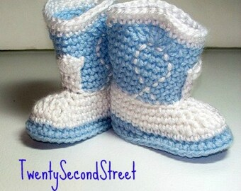 Crochet Baby Booties  Baby Blue & White Cowboy Booties Baby Photo Prop
