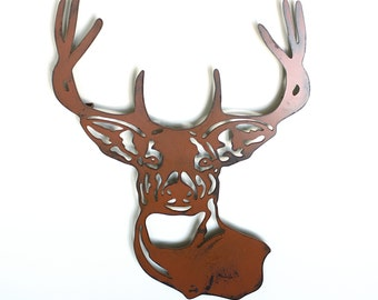 "Deer buck head mount metal wall art - 20"" tall wall art - deer brown with rust accents - stag metal wall hanging"