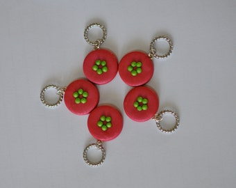 Hand made Polymer Clay Stitch Markers for Knitting - Set of 5