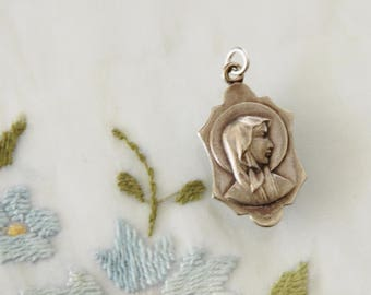 Vintage Mary Our Lady of Lourdes & Bernadette at the Grotto Medal from France