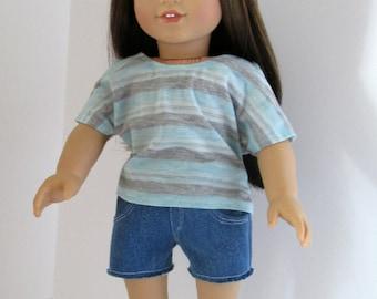 Aqua/Gray/Silver Striped T-Shirt with Denim Cutoff Shorts, Girl Doll Clothes, Fits 18 Inch Dolls Such as American Girl Dolls