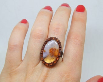 dendritic quartz ring, Leather ring with dendritic agate, gemstone ring, black leather ring, large stone ring 9