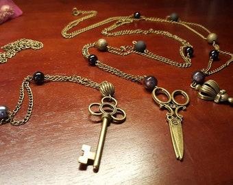 Bicycle necklace / scissors / keys