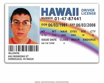 Plastic ID Card (TV & Film Prop) - McLovin SUPERBAD Drivers License Replica