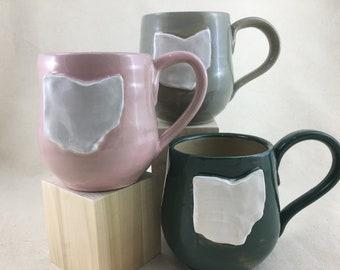 Ceramic Ohio Mug / Teacup / Hand-painted / Pink / Green / Gray / Wheel Thrown Mug - READY TO SHIP