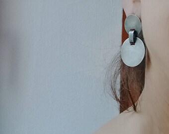 dangle earrings large silver disc post earrings